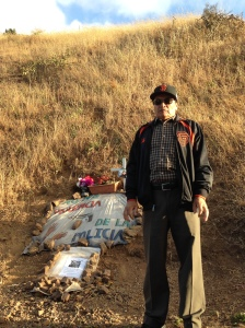 Refugio Nieto standing at the site of Alex's memorial altar.