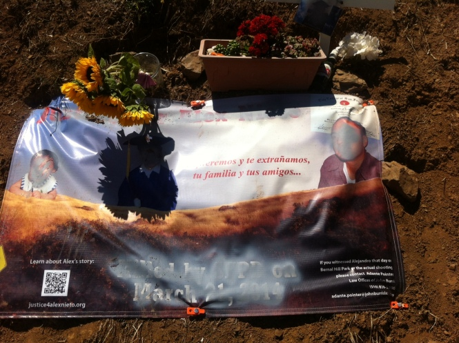The Alex Nieto Memorial on Bernal Hill was vandalized for the second time on July 22, after we had laid down a new banner on his 4th month anniversary of death.