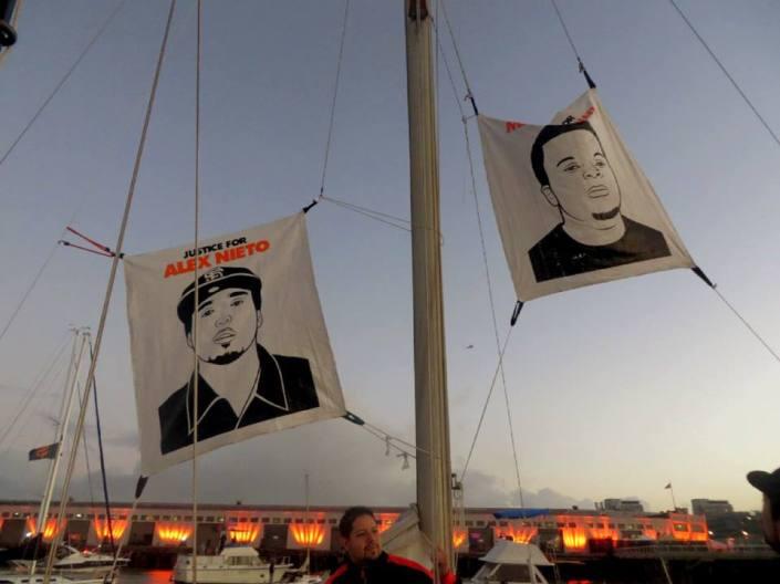 A justice flotilla flies a flag