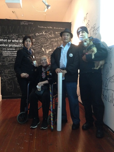 Refugio and Elvira with Mesha (mother of Idriss Stelley, killed by SFPD 2001) and companions Remigio and doggie King Bizcocho at MCCLA, Nov. 2nd Day of Dead opening