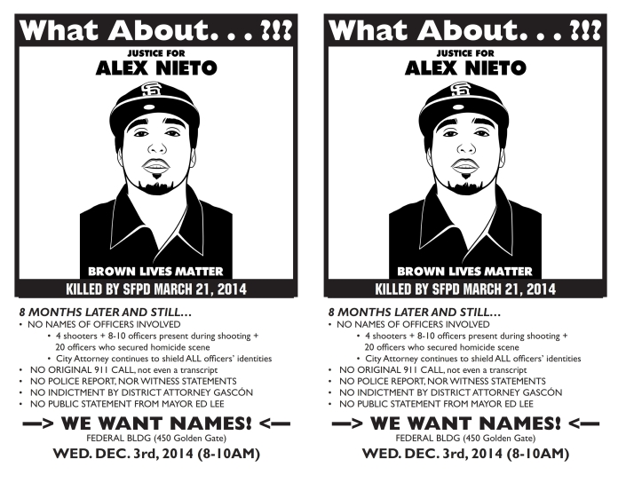 Justice 4 Alex Nieto: WE WANT NAMES! WE WANT NAMES! @ San Francisco Federal Courthouse | Eureka Springs | Arkansas | United States