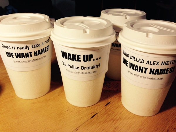 2014.12.3 Alex Nieto Rally We Want Names Coffee Cups