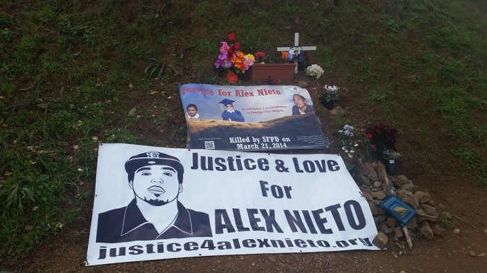 1.5.2015 Alex Nieto Memorial site during press conference